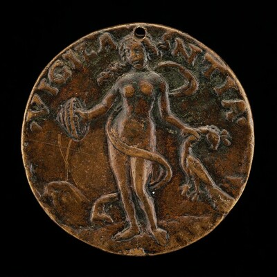 Figure Holding a Shield and Peacock [reverse]
