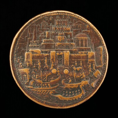 Troy with Galleys in Harbor [reverse]