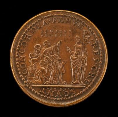 Pietro Lando, c. 1462-1545, Doge of Venice 1539, with Venetian Senators, Kneeling Before Christ [obverse]