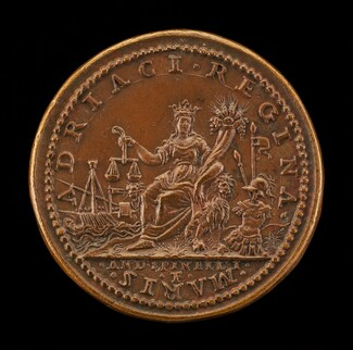 Venice Crowned Holding Cornucopiae and Scales, Galley and Arms [reverse]