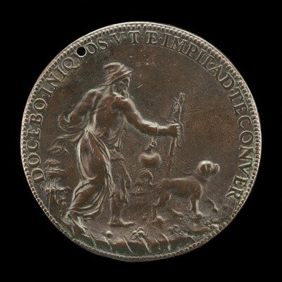 Blind Man with a Staff and Water-flask, Led by a Dog [reverse]