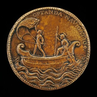 Fortune Holding a Sail, and Helmeted Woman [reverse]