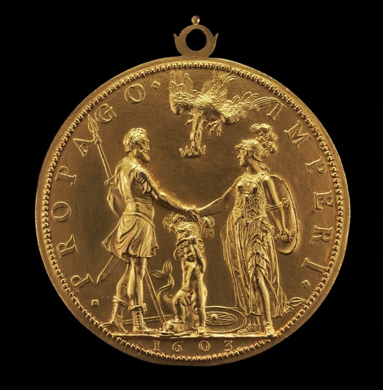 Guillaume Dupré, Louis XIII as Dauphin between Henri IV as Mars and Marie as Pallas Athena [reverse], 16031603