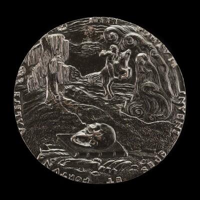Book, Skull, Bones, and Rider in Landscape [reverse]
