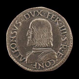 Alfonso I d'Este, 1476-1534, 3rd Duke of Ferrara, Modena and Reggio 1505 [obverse]