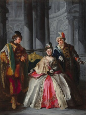 Three Figures Dressed for a Masquerade
