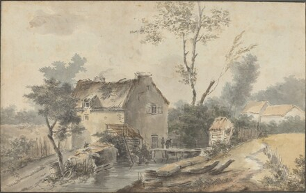 Mill with Bridge and Figures