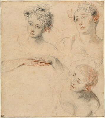Three Studies of a Woman's Head and a Study of Hands [recto]