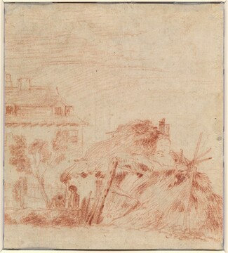 View of a House, a Cottage, and Two Figures [verso]