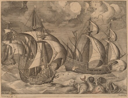 Three Caravels in a Rising Squall with Adrion on a Dolphin