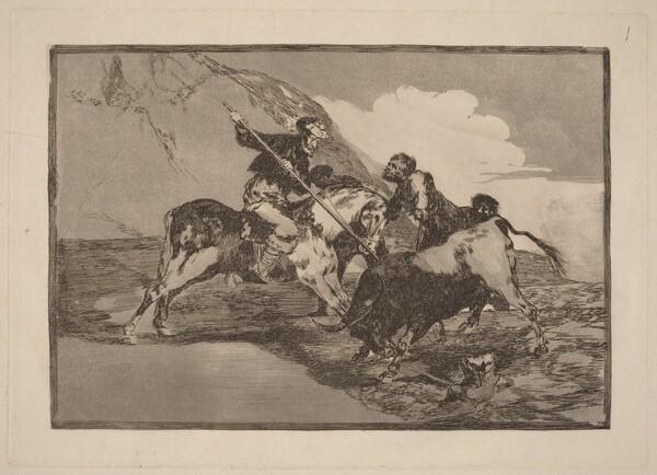 Modo con que los antiguos Espanoles cazaban los toros a caballo en el campo (The Way  in which the Ancient Spaniards Hunted Bulls on Horseback in the Open Country)