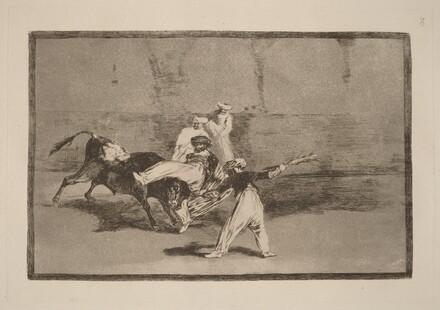 Cogida de un moro estando en la plaza  (A Moor Caught by the Bull in the Ring)