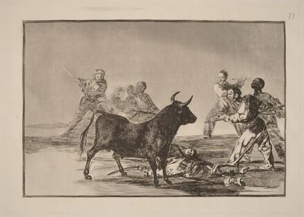 Desjarrete de la canalla con lanzas, medias-lunas, banderillas y otras armas (The Rabble Hamstring the Bull with Lances, Sickles, Banderillas and Other Arms)