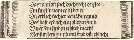 Printed text for The Betrothal of Maximilian with Mary of Burgundy