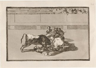 Caida de un picador de su caballo debajo del toro (A Picador is Unhorsed and Falls under the Bull)