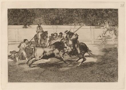 El esforzado Rendon picando un toro, de cuya suerte murio en plaza de Madrid (The Forceful Rendon Stabs a Bull with the Pique, from Which Pass He Died in the Ring at Madrid)