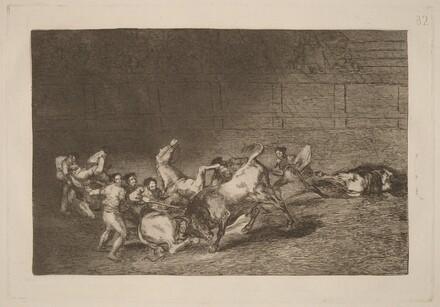 Dos grupos de picadores arrollados  de seguida por un solo toro (Two Teams of Picadors Thrown One after the Other by a Single Bull)
