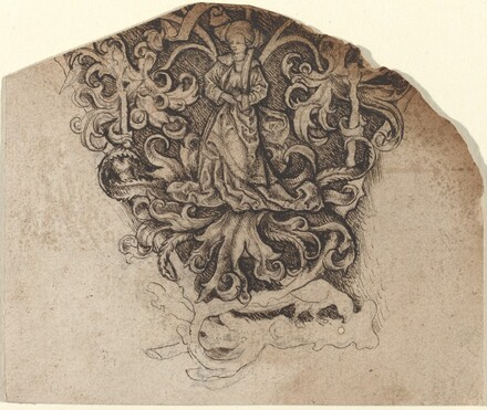 Gothic Ornament with a Lady and a Parrot
