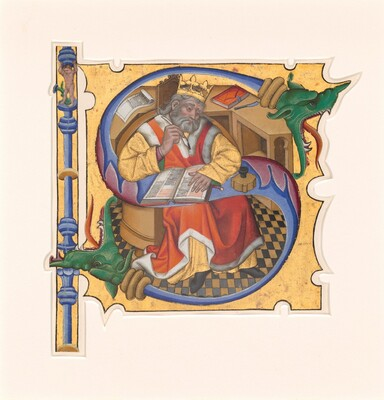 Initial S with King David as Scribe