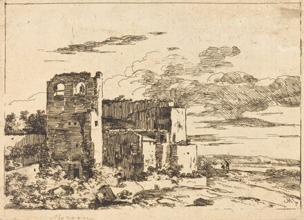 Ruined Buildings near a River Bank