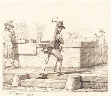 Artist Carrying Easel with a Lithographic Stone