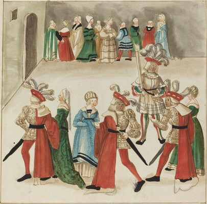 Three Men in Red Capes Dancing with Their Partners
