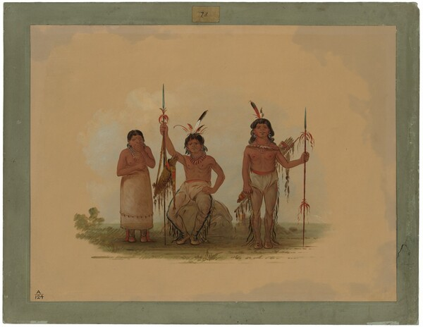 Two Arapaho Warriors and a Woman