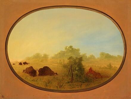 Pawnee Indians Approaching Buffalo