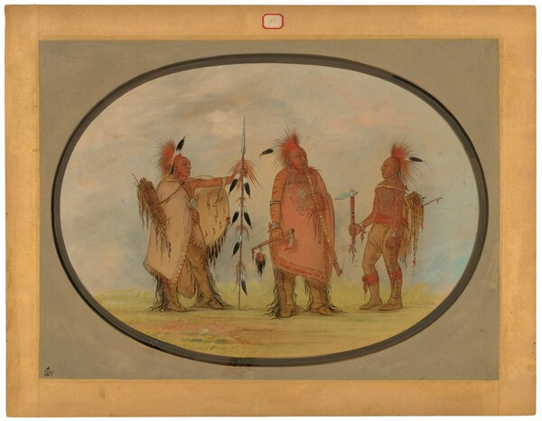 Osage Chief with Two Warriors