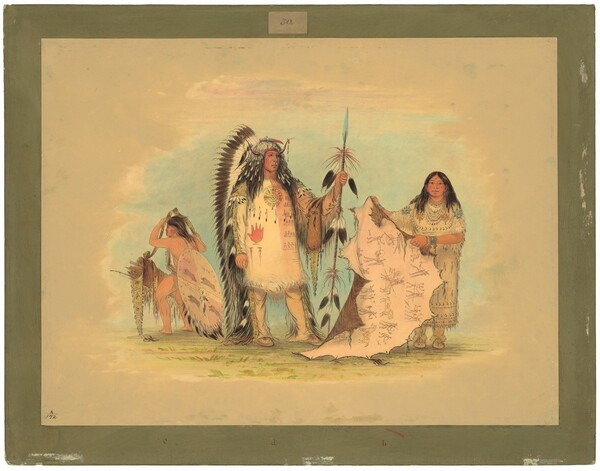 Mandan War Chief with His Favorite Wife