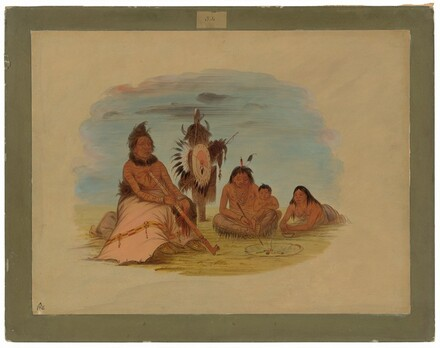 An Aged Minatarree Chief and His Family