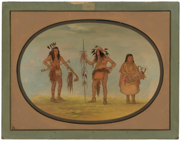 Two Ojibbeway Warriors and a Woman
