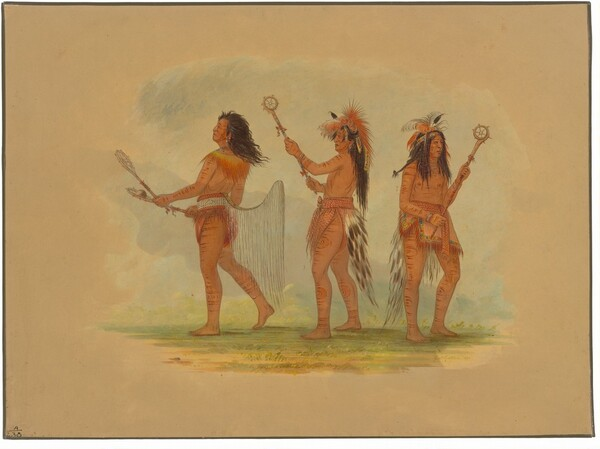 Three Celebrated Ball Players - Choctaw, Sioux and Ojibbeway