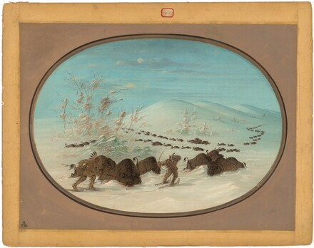 Buffalo Chase in the Snow Drifts - Ojibbeway