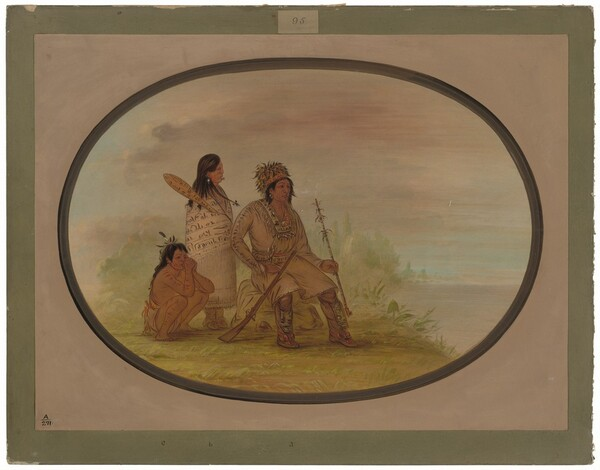 An Old Nayas Indian, His Granddaughter, and a Boy