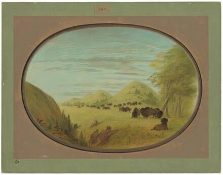 Catlin and Two Companions Shooting Buffalo