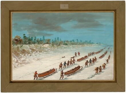 La Salle Crossing Lake Michigan on the Ice.  December 8, 1681