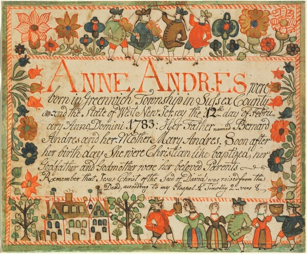 Birth and Baptismal Certificate of Anne Andres