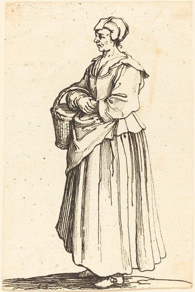 Peasant Woman with Basket, in Profile,  Facing Left