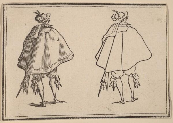 Gentleman in Large Mantle, Seen from Behind