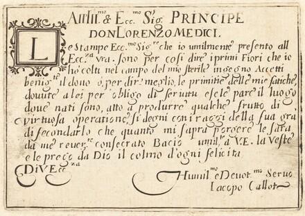 Dedication to Don Lorenzo de' Medici