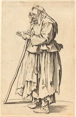 Beggar Woman Receiving Charity