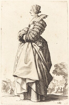Noble Woman in Profile with her Hands in a Muff