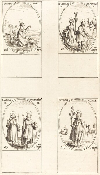St. Calistratus; Sts. Cyprian and Justina; Sts. Comus and Damian; St. Elzear, Count