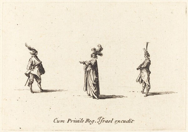 Lady with Plumed Hat, and Two Gentlemen