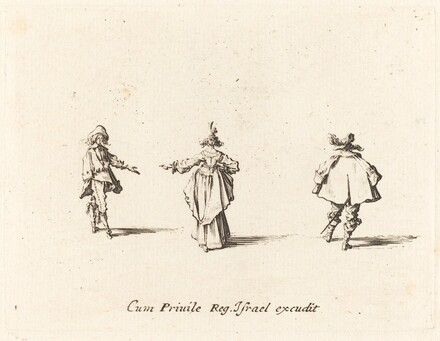 Lady with Outstretched Arm,  Seen from Behind, and Two Gentlemen