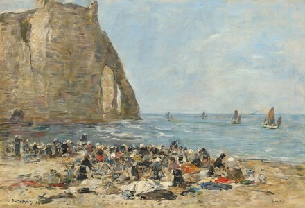 Washerwomen on the Beach of Etretat