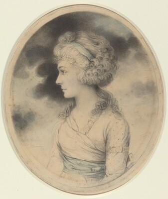 Portrait of a Woman with a Blue Sash