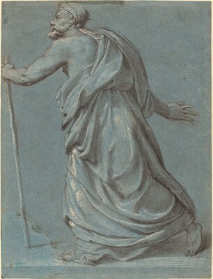 Study of a Man Walking towards the Left Holding a Staff