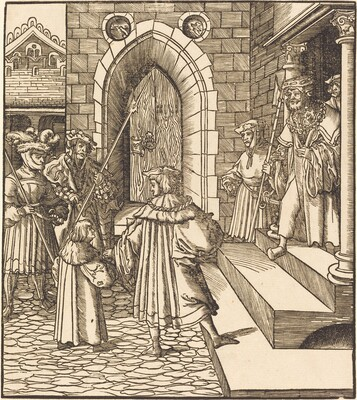 Three Men and a Boy in the Court of a Castle, to the Right Three Men on a Staircase